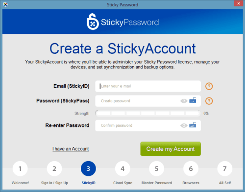 Sticky Password Premium Create StickyAccount