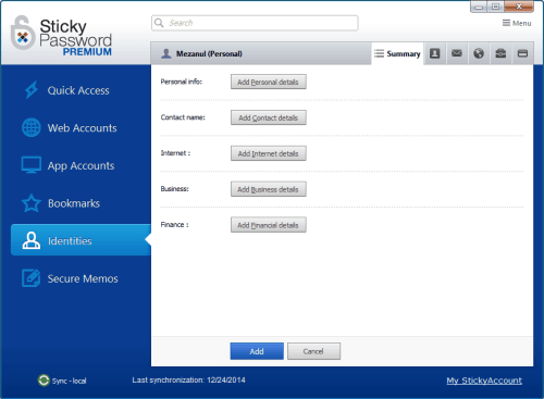 Sticky Password Premium Identities