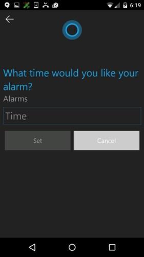 Set alarm using Cortana app on Android