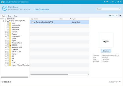 EASEUS Data Recovery Wizard Free - Deep Scan