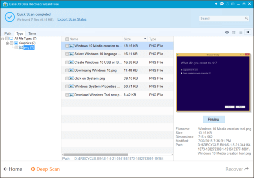 EASEUS Data Recovery Wizard Free - Preview Before Recover Deleted File