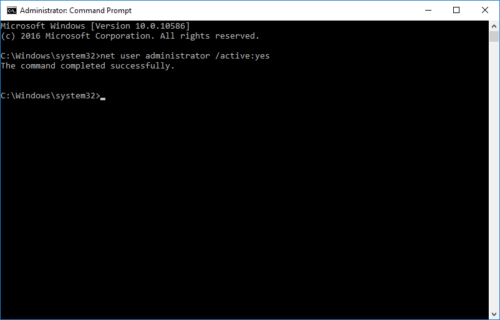 Enable Administrator Account Using Command Prompt in Windows 10