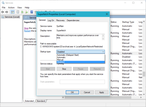 enable or disable superfetch in windows using services