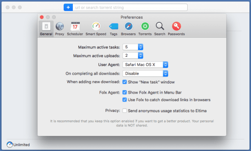 Folx 5 for Mac Preferences