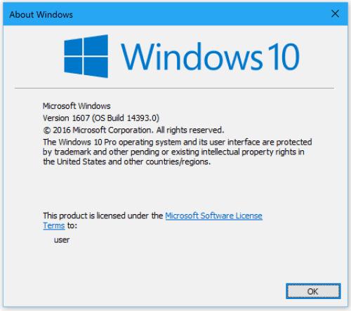 Windows 10 Anniversary Edition winver