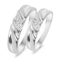 1/10 CT. T.W. Diamond His And Hers Wedding Rings 10K White ...