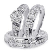 1 1/10 Carat T.W. Diamond Trio Matching Wedding Ring Set ...