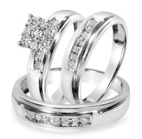 1/2 CT. T.W. Diamond Trio Matching Wedding Ring Set 10K ...