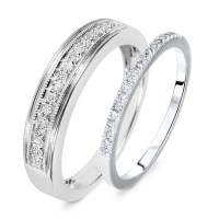 1/4 Carat T.W. Round Cut Diamond His And Hers Wedding Band ...