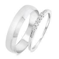 1/6 Carat T.W. Round, Baguette Cut Diamond His and Hers ...