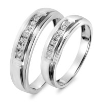 1/8 Carat T.W. Diamond His And Hers Wedding Band Set 10K ...