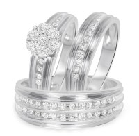 1 Carat T.W. Diamond Trio Matching Wedding Ring Set 10K ...