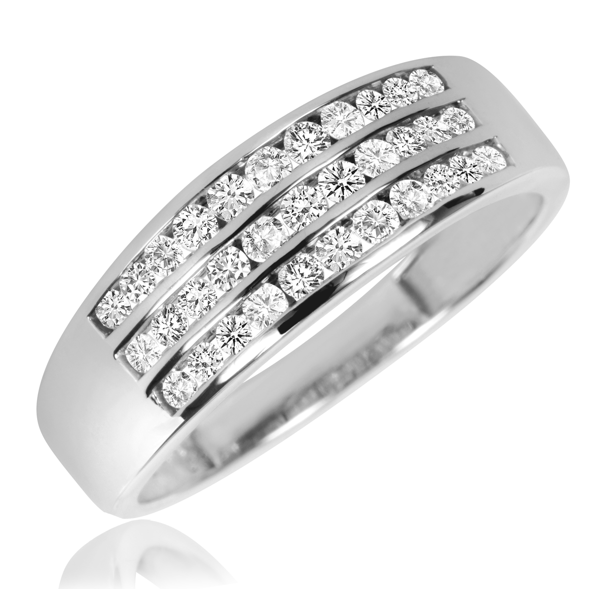 white wedding band Thin wedding band solid 14k WHITE gold handmade ring stackable full round 1 3 mm classic smooth