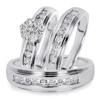 3/4 CT. T.W. Diamond Trio Matching Wedding Ring Set 14K ...