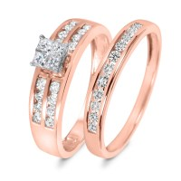 3/4 CT. T.W. Diamond Women's Bridal Wedding Ring Set 10K ...