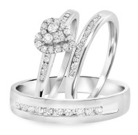 3/4 Carat T.W. Diamond Trio Matching Wedding Ring Set 14K ...