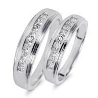 3/8 Carat T.W. Diamond His And Hers Wedding Band Set 10K ...