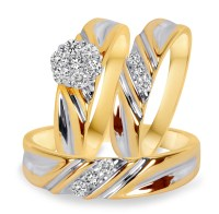 3/8 Carat T.W. Diamond Trio Matching Wedding Ring Set 10K ...