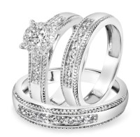 7/8 Carat T.W. Diamond Trio Matching Wedding Ring Set 14K ...