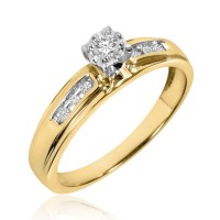 1/4 CT. T.W. Diamond Trio Matching Wedding Ring Set 10K ...