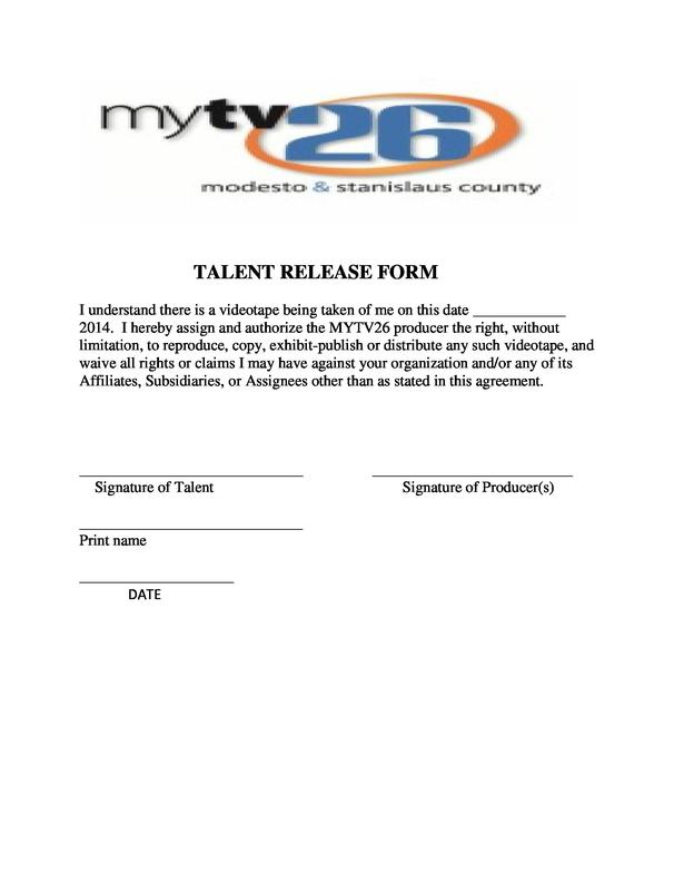 tv release form - Barebearsbackyard - Talent Release Form Template