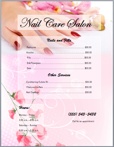 Nail Salon Business Plan Template Sample Form Nail Services Salon Price List Template Free Word Templates