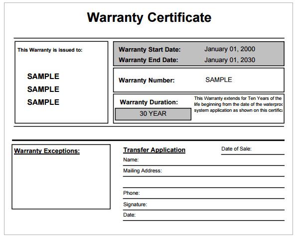 warranty template word
