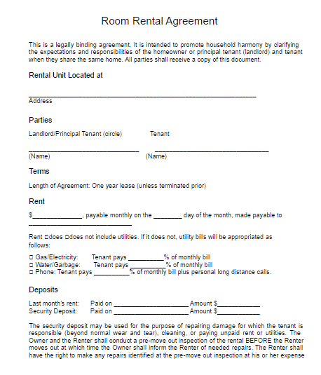 lease for room rental form