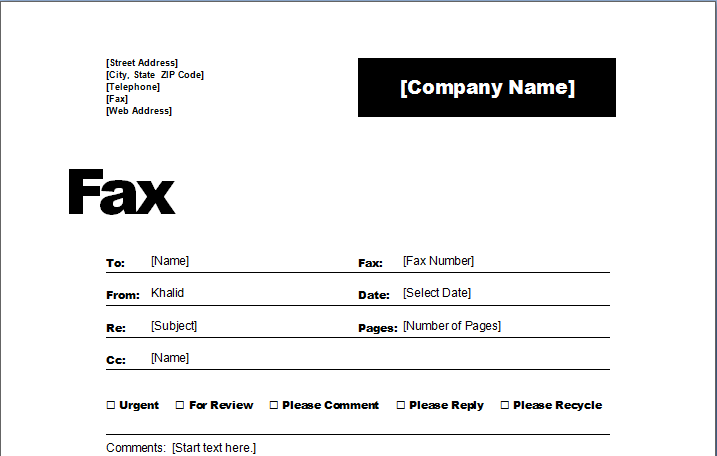 ms word fax cover template