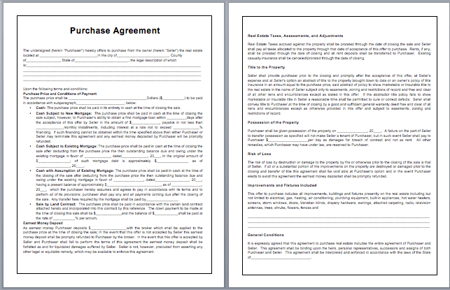 microsoft word purchase agreement template