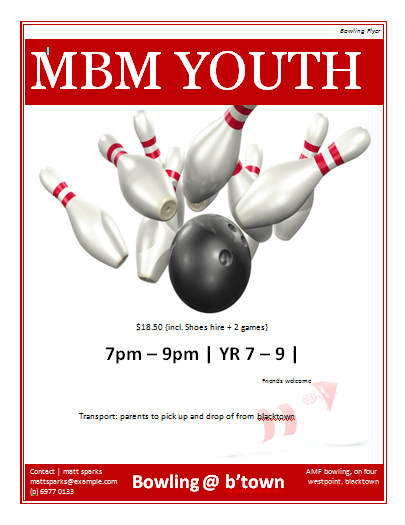bowling fundraiser flyer template