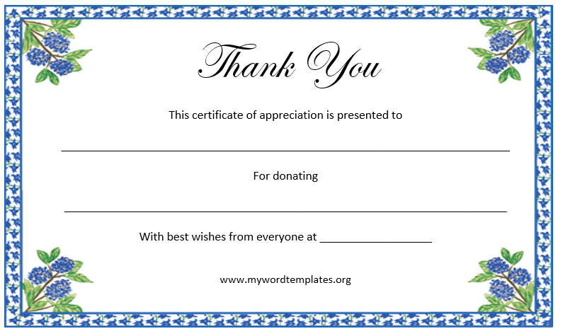 Thank You Certificate Templates For Word - Template