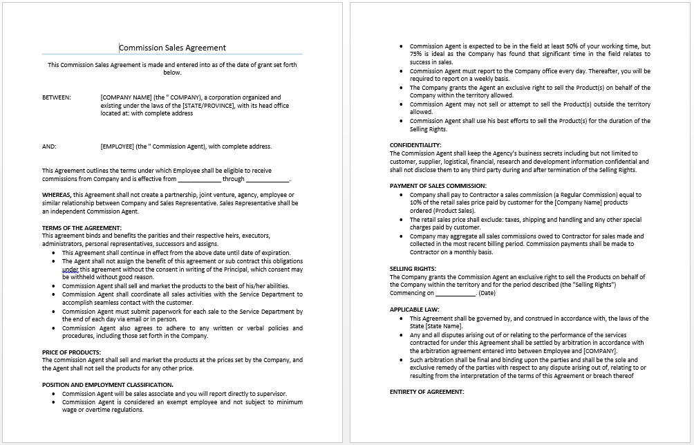 Commission Fee Agreement Template Costumepartyrun