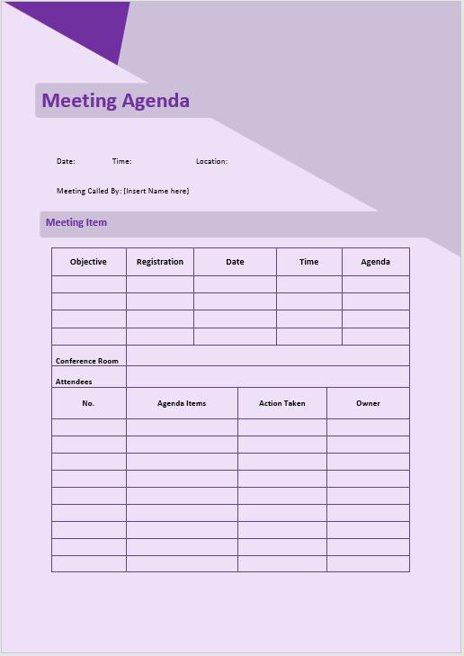 informal agenda template