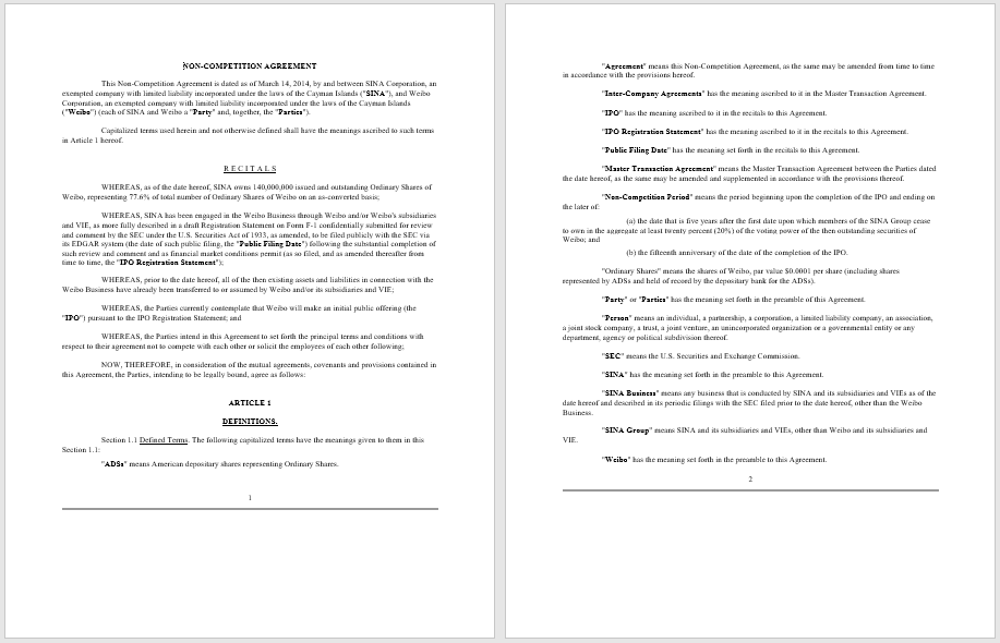Non Compete Agreement Template Ivoiregion