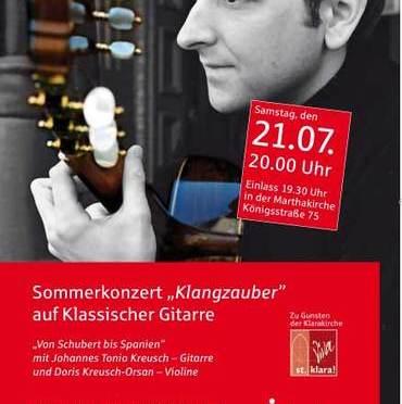 Johannes Tonio Kreusch – Leiter des Hersbrucker Gitarrenfestivals – spielt in Nürnberg in und für die Klarakirche