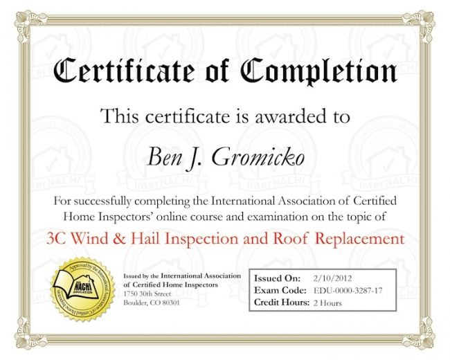 Roof Inspection Online Training - InterNACHI - certificate of completion training