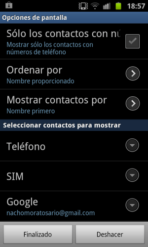 contactos de google contacts a mostrar