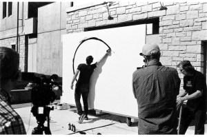 Enrico Isamu Oyama, live painting performance at Marianna Kistler Beach Museum of Art, Kansas, US, October 7, 2017, Photo © Shreepad Joglekar