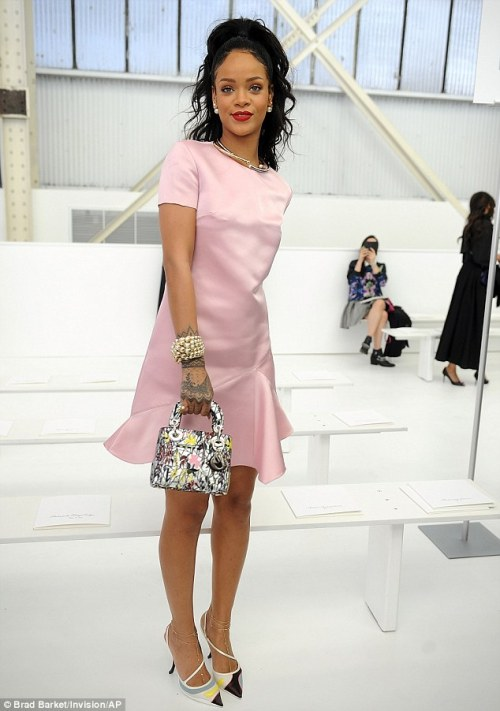 Rihanna now making sense 500x711 Rihanna Now Making Sense: In Pink Dress at the Dior Cruise Fashion Show