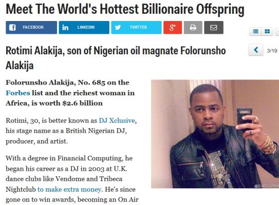 vvvv DJ Xclusive Makes List Of The worlds Hottest Billionaire Offspring