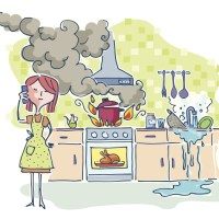 Woman in the kitchen while food burns and water spills