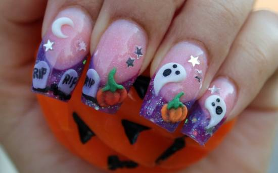 40 Scary 3d Halloween Nail Art Designs Nail Design Ideaz