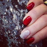 Red gel nails with silver rockstar glitter accent! - Nail ...