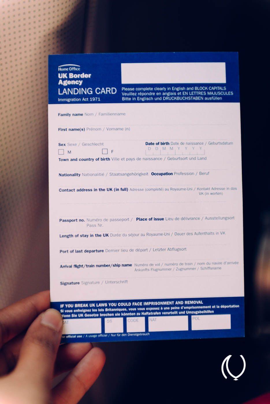 uk landing card sample pdf