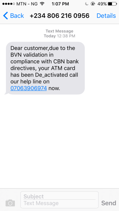 See The Message I Got From Mtn Number This Morning - Crime - Nigeria