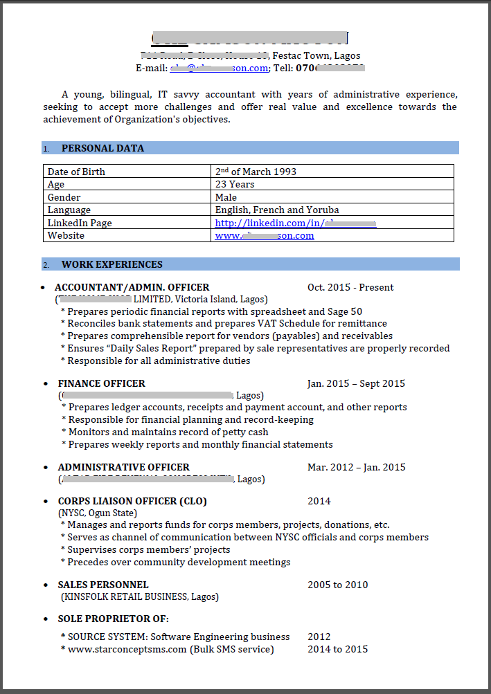 review my cv