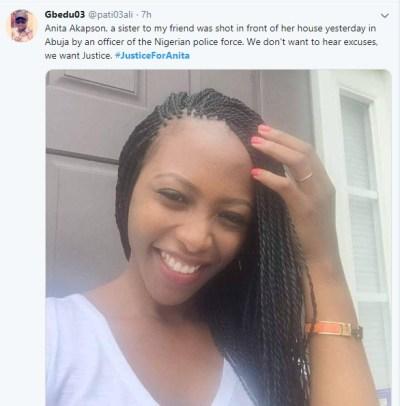 Anita Akapson Shot Dead By Policeman Near Her House In Abuja. Photos - Crime - Nigeria