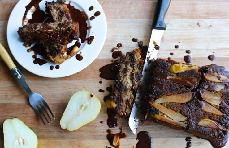 Banana Bread with Pears and Honeyed Chocolate Sauce