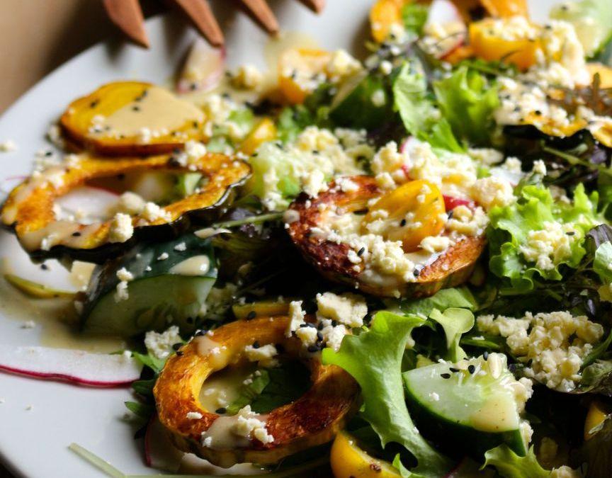 Roasted Squash Salad with Lemony Tahini Sauce + Feta